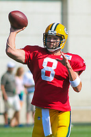 Green Bay Packers quarterback Taysom Hill (8) during a training camp practice on August 1, 2017 at Ray Nitschke Field in Green Bay, Wisconsin.  (Brad Krause/Krause Sports Photography)
