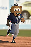 Asheville Tourists mascot Ted E Tourists #00 during a game against the Lakewood BlueClaws at McCormick Field on May 3, 2014 in Asheville, North Carolina. The BlueClaws defeated the Tourists 7-4. (Tony Farlow/Four Seam Images)