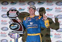 Apr 20, 2007; Avondale, AZ, USA; Nascar Busch Series driver Clint Bowyer (2) celebrtates after winning the Bashas Supermarkets 200 at Phoenix International Raceway. Mandatory Credit: Mark J. Rebilas.