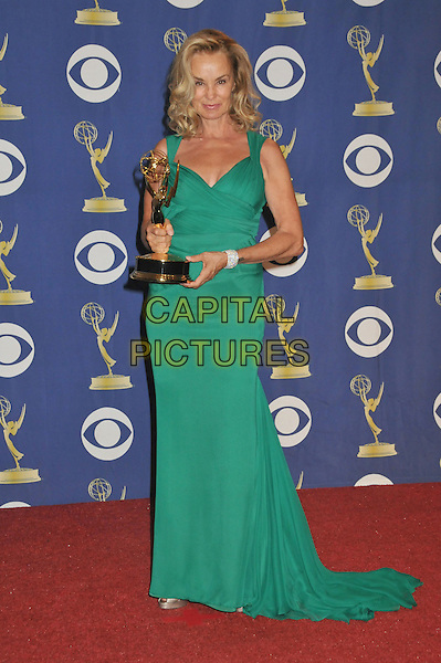 "JESSICA LANGE of ""GREY GARDENS"".Attending the 61st Annual Primetime Emmy Awards held at NOKIA Theatre L.A. LIVE, Los Angeles, California, USA, .20th September 2009..pressroom press room emmys full length gray green dress trophy award  silver bracelet long maxi train .CAP/ADM/BP.©Byron Purvis/Admedia/Capital Pictures"