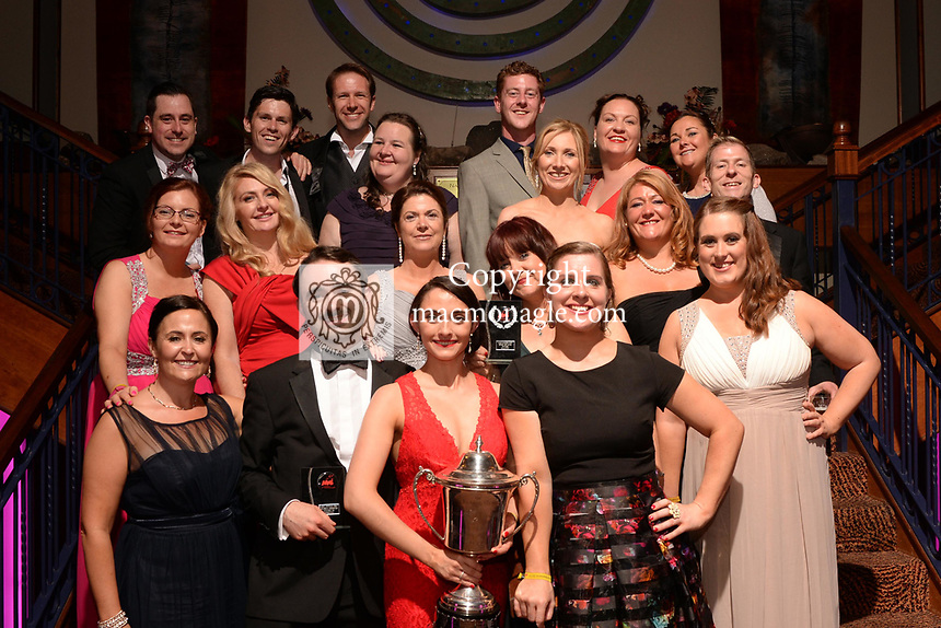 Nicole Lamb, Dunboyne Musical Society, Meath who won the Spirit of AIMS for her performance as Maureen in 'Rent'' pictured with members of the soiciety at the Association of Irish Musical Societies annual awards in the INEC, KIllarney at the weekend.<br /> Photo: Don MacMonagle -macmonagle.com<br /> <br /> <br /> <br /> repro free photo from AIMS<br /> Further Information:<br /> Kate Furlong AIMS PRO kate.furlong84@gmail.com