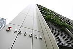 July 12, 2010 - Tokyo, Japan - Exterior of the 'Urban Farm Pasona Group Headquaters' is pictured in Tokyo, Japan, on July 12, 2010. Aiming for an amicable working environment with 'Symbiosus with Nature' as a concept, more than 200 types of fruits and vegetables grow in the nine-floor building's verandas.