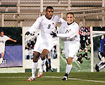 16 November 2007: Boston College's Sherron Manswell (8) celebrates with teammate Mike Konicoff (21) after his first half goal. Boston College defeated Virginia Tech 3-1 at SAS Stadium in Cary, NC in an Atlantic Coast Conference Men's Soccer tournament semifinal.