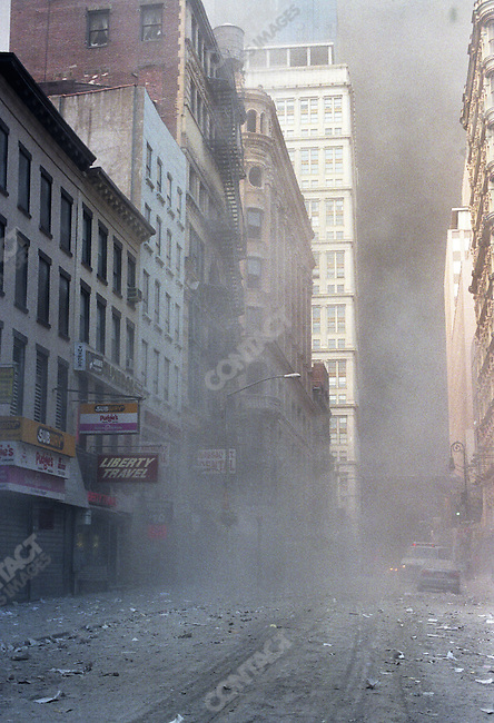 Attack on the World Trade Center, debris after the collapse of the towers, side street east of Broadway, New York City, New York, USA, September 11, 2001