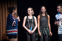 Jessica Fay '17 and Tessa Wardle '17 combined their jump-roping and dance skills into a fun routine.<br /> Ashley Rivera '19 and Austin Wilson '19, the charismatic and welcoming hosts of Apollo Night.<br /> Occidental College students perform and compete during Apollo Night, one of Oxy's biggest talent showcases, on Feb. 24, 2017 in Thorne Hall. Sponsored by ASOC and hosted by the Black Student Alliance as part of Black History Month.<br /> (Photo by Marc Campos, Occidental College Photographer)