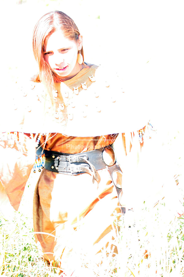 A white outline highlighting a young Native American Indian teenager girl walking along a rivers edge in South Dakota greifenhagen