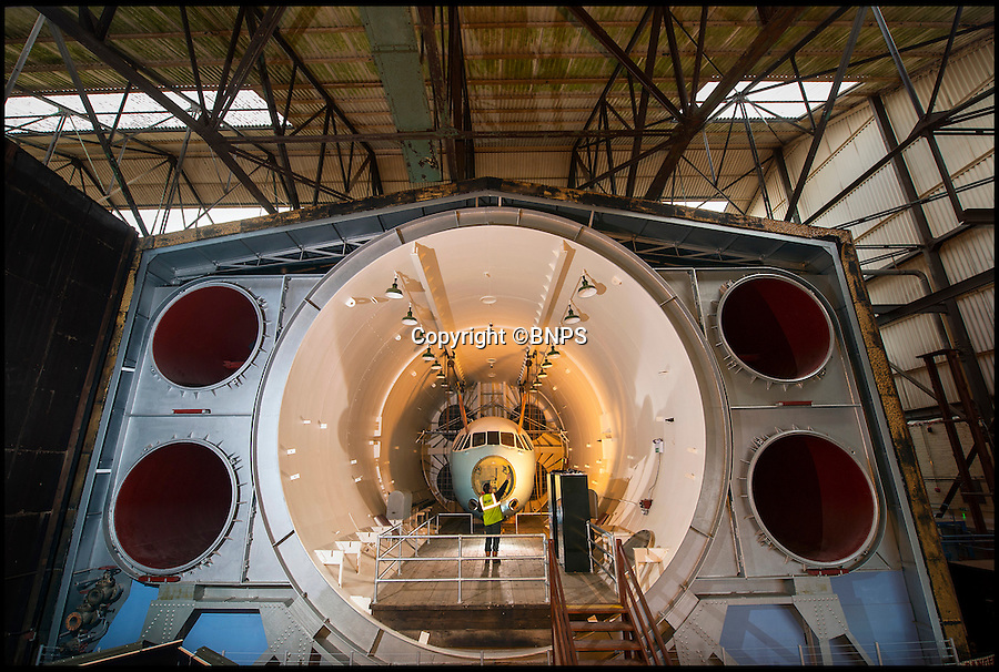 BNPS.co.uk (01202 558833)<br /> Pic: PhilYeomans/BNPS<br /> <br /> Look's like a set for a James Bond villan.<br /> <br /> The coldest of Cold War relics has opened to the public after years of secrecy. <br /> <br /> Barnes Wallis's amazing Stratosphere Chamber was built at Brooklands in 1947 to test aircraft in high altitude conditions of flight.<br /> <br /> Constructed from the hull of a nuclear submarine the 340 ton structure could replicate temperatures down to -60 centigrade at 60,000 feet, as well as blasting rain, sleet or snow at 40 kts through the sealed chamber.<br /> <br /> As well as aircraft the facility was also used to test naval equipment in freezing arctic conditions, and even the effects of icing on trawler rigging.<br /> <br /> The gigantic structure, containing the cockpit of a Viscount passenger aircraft, has now been spruced up and is open to the public at the Brooklands Museum in Weybridge.
