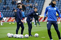 9th November 2019; Deepdale Stadium, Preston, Lancashire, England; Championship Football, Preston North End versus Huddersfield Town; Hudderfield Town manager Danny Cowley and assistant manager Nicky Cowley oversee their team's warm up before the game - Strictly Editorial Use Only. No use with unauthorized audio, video, data, fixture lists, club/league logos or 'live' services. Online in-match use limited to 120 images, no video emulation. No use in betting, games or single club/league/player publications