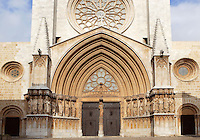 Portal of the Cathedral; Rose Window; XII Century, Tarragona, Catalonia, Spain; finest example of transitional architecture, contrasting both Romanesque and Gothic aesthetics; Perched on the hilltop of the historical centre, it overlaps the site of a former Roman temple. Picture by Manuel Cohen