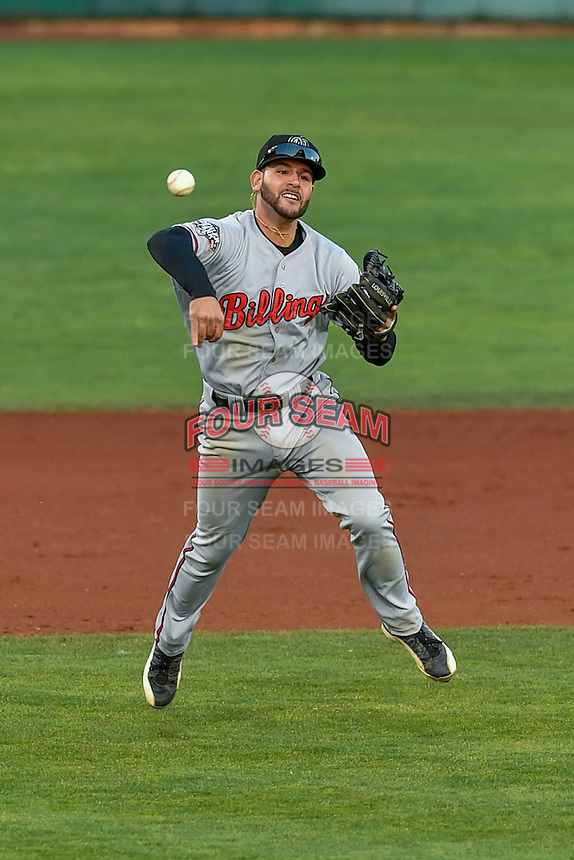 John Sansone (26) of the Billings Mustangs throws to first base during the game against the Orem Owlz in Game 2 of the Pioneer League Championship at Home of the Owlz on September 16, 2016 in Orem, Utah. Orem defeated Billings 3-2 and are the 2016 Pioneer League Champions. (Stephen Smith/Four Seam Images)