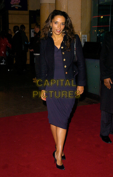 "ROWENA KING.UK Premiere of ""The Bucket List"" held at the Vue cinema, Leicester Square, London, England..January 23rd, 2008    .full length black jacket blue dress .CAP/CAN.©Can Nguyen/Capital Pictures."