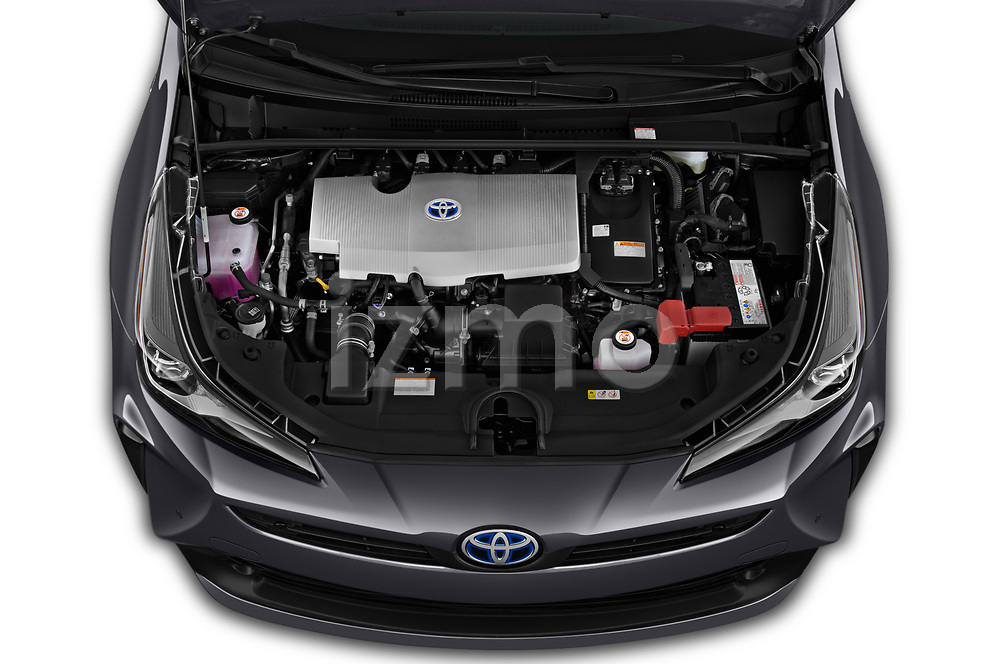 Car Stock 2019 Toyota Priush Lounge 4 Door Hatchback Engine  high angle detail view
