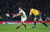 Sam Simmonds of England passes the ball. Old Mutual Wealth Series International match between England and Australia on November 18, 2017 at Twickenham Stadium in London, England. Photo by: Patrick Khachfe / Onside Images