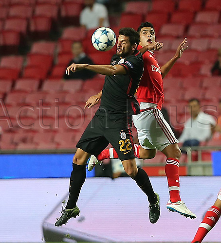 03.11.2015. Lisbon, Portugal.  UEFA Champions League Group C football match between Benfica and Galatasaray at Estadio da Luz Stadium in Lisbon, Portugal. Raul Jimenez of Benfica and Hakan Balta of Galatasaray.