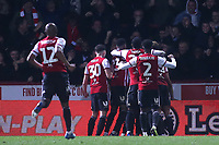 Brentford players congratulate Neal Maupay after scoring their goal during Brentford vs Aston Villa, Sky Bet EFL Championship Football at Griffin Park on 13th February 2019