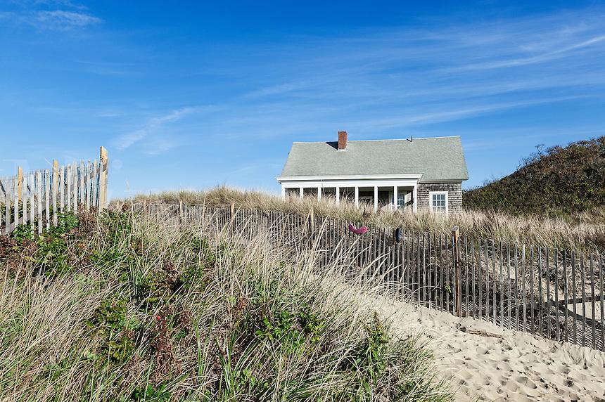 Dune path and beach house, Ballston Beach, Truro, Cape Cod, Massachusetts, USA