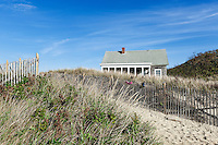 Dune path and beach house, Ballston Beach, Truro, Cape Cod, Massachusetts, USA