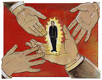 Glowing businessman standing on outstretched hands
