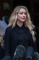 London, UK - 28 July 2020<br /> Amber Heard gives statement outside The Royal Courts of Justice at libel trial against The Sun, a British tabloid newspaper.<br /> CAP/JOR<br /> ©JOR/Capital Pictures