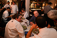 MELBOURNE, 30 June 2017 – Philippe Mouchel, Simon Consentino, Sasha Randle, and Rita Erlich talk at their table during a dinner celebrating his 25 years in Australia with six chefs who worked with him in the past at Philippe Restaurant in Melbourne, Australia.