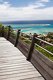 FRENCH POLYNESIA, Moorea Island. Bungalows, Interiors and views of the Legends Resort Moorea. View of a deck of one of the bunglows.