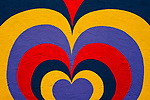 Mural of Multicolored Heart on side of building close-up