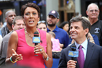 NEW YORK CITY, NY - August 20, 2012: Robin Roberts and George Stephanopoulos live on the air hosting Good Morning America in New York City. &copy; RW/MediaPunch Inc. /NortePhoto.com<br />