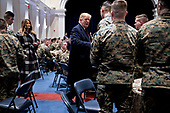 United States President Donald J. Trump, center, greets Marines with First Lady Melania Trump, left, while visiting Marine Barracks in Washington, D.C., U.S, on Thursday, Nov. 15, 2018. President Trump and the First Lady are meeting with Marines who responded to a building fire at the Arthur Capper Public Housing complex on September 9, 2018. <br /> Credit: Andrew Harrer / Pool via CNP