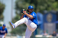 Rancho Cucamonga Quakes Chris Mathewson (27) delivers a pitch to the plate against the Lake Elsinore Storm at LoanMart Field on May 28, 2018 in Rancho Cucamonga, California. The Storm defeated the Quakes 8-5.  (Donn Parris/Four Seam Images)