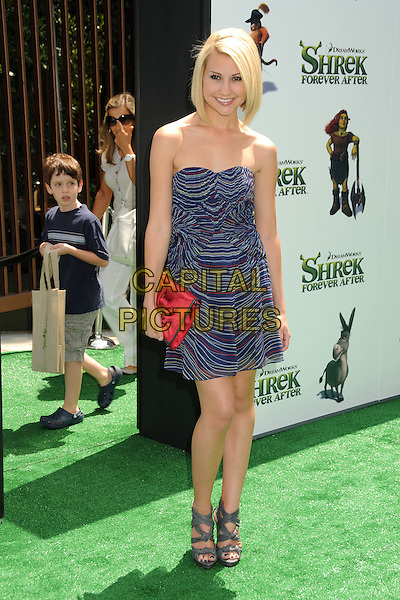"""CHELSEA STAUB.""""Shrek Forever After"""" Los Angeles Premiere held at the Gibson Amphitheatre, Universal City, California, USA..May 16th, 2010.full length blue striped stripes strapless dress red clutch bag grey gray sandals shoes .CAP/ADM/BP.©Byron Purvis/AdMedia/Capital Pictures."""
