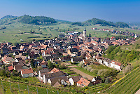Germany, Baden-Wurttemberg, Oberrotweil at Kaiserstuhl: famous wine village with church Saint John the Baptist, at background Kaiserstuhl's highest mountain Totenkopf with television tower Vogtsburg | Deutschland, Baden-Wuerttemberg, Oberrotweil am Kaiserstuhl: bekannter Weinbauort mit Pfarrkirche St. Johannes Baptist, im Hintergrund der Totenkopf Kaiserstuhl mit dem Fernsehturm Vogtsburg