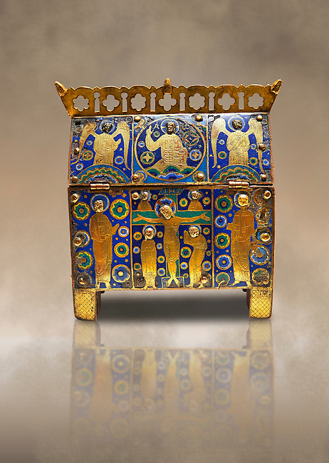 Limoges Gothic chest with scenes from the Crucifixtion, circa 1210-1220. Copper engraved with an application of Champlevé enamelling. Origin Unknown. Inv MNAC 4573. National Museum of Catalan Art (MNAC), Barcelona, Spain