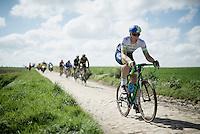 eventual winner Mathew Hayman (AUS/Orica-GreenEDGE) on sector 24: Saint-Python (1.5km) in his 15th (!) Roubaix<br /> <br /> 114th Paris-Roubaix 2016