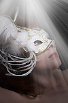 woman in white mask