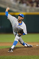 UCLA pitcher Zach Weiss (32) delivers a pitch to the plate during Game 1 of the 2013 Men's College World Series Finals against the Mississippi State Bulldogs on June 24, 2013 at TD Ameritrade Park in Omaha, Nebraska. The Bruins defeated the Bulldogs 3-1, taking a 1-0 lead in the best of 3 series. (Andrew Woolley/Four Seam Images)