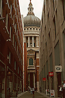 London:  Paternoster Square, looking south to St. Paul's Dome from Pasternoster Row.  Photo '05.