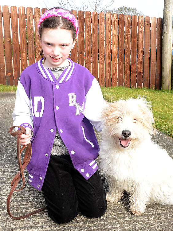 Bláthnaid Murphy and Miley who took part in the Green Dog Walk as part of the Duleek Revival programme. Photo:Colin Bell/pressphotos.ie