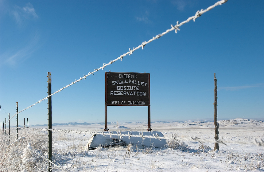 Snow blankets desert hills at the entrance of the Skull Valley Goshute reservation in western Utah. Tribe members are divided over whether the storage facility is a good economic choice for the tribe. (Kevin Moloney for the New York Times)