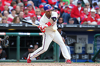 Philadelphia Phillies third baseman Placido Polanco #27 during their home opener against the Miami Marlins at Citizens Bank Park on April 9, 2012 in Philadelphia, Pennsylvania.  Miami defeated Philadelphia 6-2.  (Mike Janes/Four Seam Images)