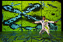 Brazilian choreographer and dancer Jean Abreu performs his latest show BLOOD featuring images by Gilbert &amp; George &ndash; the first time the iconic duo have allowed their art to be used in 42 years.  <br />  <br /> Using cutting-edge motion-capture technology and animation, Italian software artists Mirko Arcese and Luca Biada use the Gilbert &amp; George pictures and their own visuals to create a series of projections which respond to Abreu&rsquo;s movements and speech. Photograph &copy; Jane Hobson