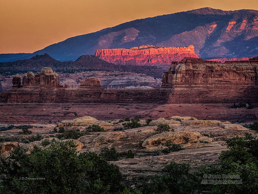 Sunlit Ridge and Abajo Mountains, Canyonlands Needles District, Utah