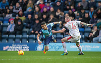 Paris Cowan-Hall of Wycombe Wanderers & Mark Connolly of Crawley Town during the Sky Bet League 2 match between Wycombe Wanderers and Crawley Town at Adams Park, High Wycombe, England on 25 February 2017. Photo by Andy Rowland / PRiME Media Images.