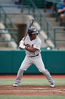 Tri-City ValleyCats Luis Santana (7) at bat during a NY-Penn League game against the Brooklyn Cyclones on August 17, 2019 at MCU Park in Brooklyn, New York.  The game was postponed due to inclement weather, Brooklyn defeated Tri-City 2-1 in the continuation of the game on August 18th.  (Mike Janes/Four Seam Images)