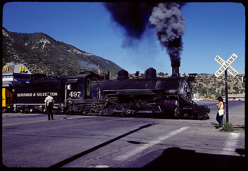D&amp;RGW #497 K-37 crossing street north of Durango station.<br /> D&amp;S  Durango, CO