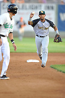 Second baseman Jamie Westbrook #2 of the South Bend Silver Hawks chase runner down during pickoff play against the Clinton LumberKings at Ashford University Field on July 26, 2014 in Clinton, Iowa. The Sliver Hawks won 2-0.   (Dennis Hubbard/Four Seam Images)