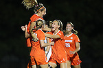 27 October 2016: Clemson's Sam Staab (above, left) celebrates her goal with teammates. The Duke University Blue Devils hosted the Clemson University Tigers at Koskinen Stadium in Durham, North Carolina in a 2016 NCAA Division I Women's Soccer match. Clemson won the game 1-0.