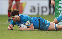 12th January 2020; RDS Arena, Dublin, Leinster, Ireland; Heineken Champions Champions Cup Rugby, Leinster versus Lyon Olympique Universitaire; Max Deegan (Leinster) dives in to score a try - Editorial Use