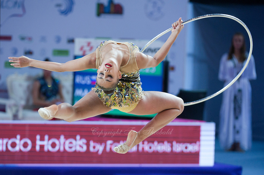 RITA MAMUN of Russia performs with hoop at 2016 European Championships at Holon, Israel on June 18, 2016.