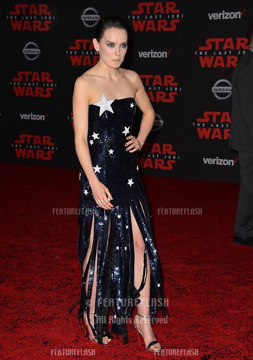 Daisy Ridley at the world premiere for &quot;Star Wars: The Last Jedi&quot; at the Shrine Auditorium. Los Angeles, USA 09 December  2017<br /> Picture: Paul Smith/Featureflash/SilverHub 0208 004 5359 sales@silverhubmedia.com