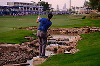Jon Rahm (ESP) on the 18th during the 1st round of the DP World Tour Championship, Jumeirah Golf Estates, Dubai, United Arab Emirates. 21/11/2019<br /> Picture: Golffile | Fran Caffrey<br /> <br /> <br /> All photo usage must carry mandatory copyright credit (© Golffile | Fran Caffrey)